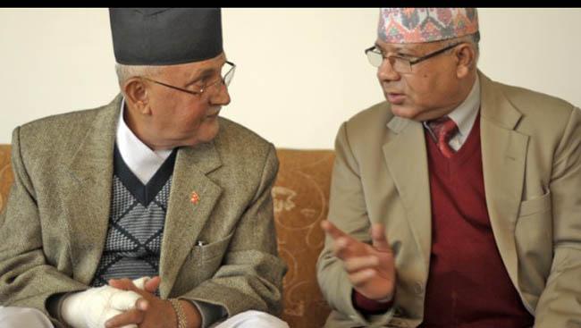 प्रधानमन्त्री ओली र नेता नेपालबीच भेटवार्ता